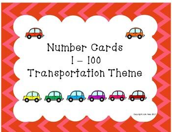 Number Cards 1-100 Transportation Theme