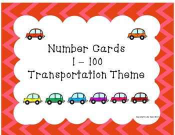 Number Cards 1-100 Transportation Theme