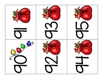 Number Cards 1-120 Christmas Theme