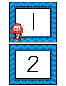 Number Cards, 1-20: Blue Chevron - Jellyfish - Ocean Theme