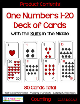 Number Cards 1-20 Decks of Cards for Math Card Games