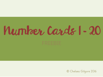 Number Cards 1-20 FREEBIE SAMPLE Back to School Theme