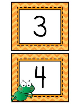 Number Cards, 1-20: Frog Theme