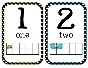 Number Cards 1-20 Mini Posters  CCSS K.CC