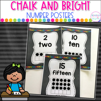 Chalk and Bright Number Cards- 0-20 Numbers,Number Words,Ten Frames