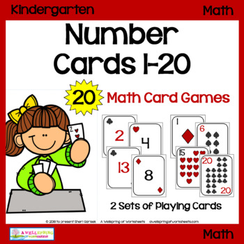 Number Cards 1-20 for Math Card Games