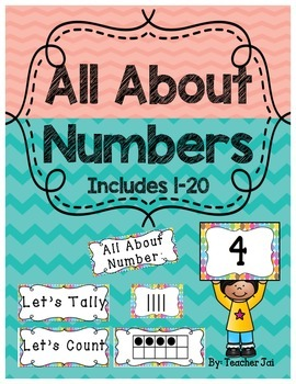 Number Cards 1-20 with Ten Frames in Polka Dots Pocket Cha