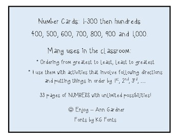 Number Cards - 1-300 +