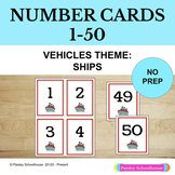 Number Cards 1-50: Vehicle Theme