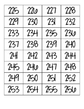 Number Cards 1-999