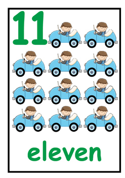 Number Cards 11-20 - Car Theme