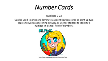 Early Childhood Number Cards
