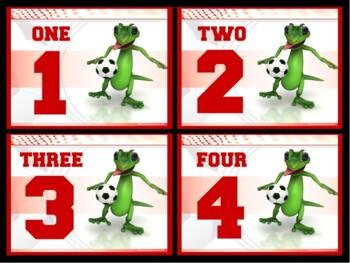 Number Cards: Soccer Lizard- Quarter Page Set (Numbers 1 - 32)