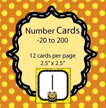 Number Cards / Calendar Dates -20 to 200 - Bee Themed