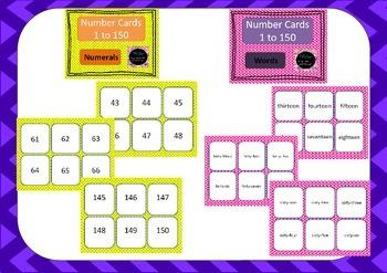 Number Cards - Massive Bundle 1-150 in each set