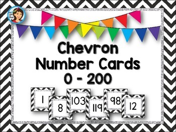 Number Cards / Number Line {0 - 200} Chevron
