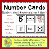 Number Cards - Numbers, Words, Pictures from 1 to 10 and words starting at 11