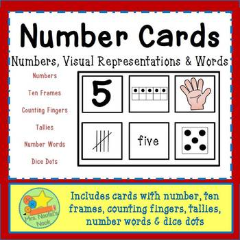 Number Cards - Numbers, Words, Pictures from 1 to 10 & wor
