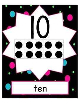 Number Cards Polka Dots (ten frames)