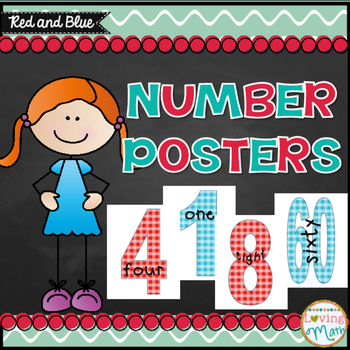 Number Posters Red and Blue