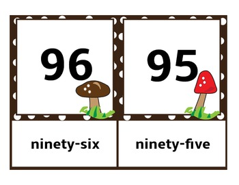 Number Cards Set Zero-100 Mushrooms and Polka Dots