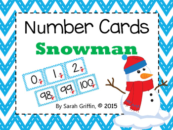 Number Cards ~ Snowman ~  0-100