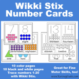 Number Cards - Tracing, Counting, 1 to 1 correspondence, Wikki Stix