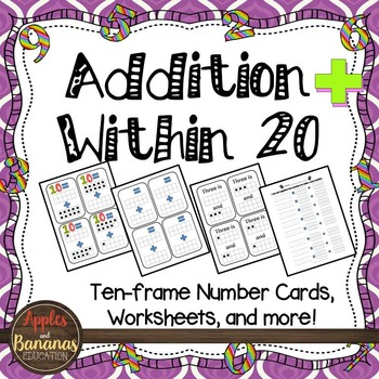 Addition Within 20 (Ten-Frame) Number Cards and Worksheets