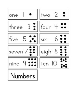 Number Cards for 1-10