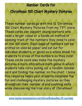 Number Cards for 12 Christmas Hundred Chart Mystery Pictures Bible Clues Pack