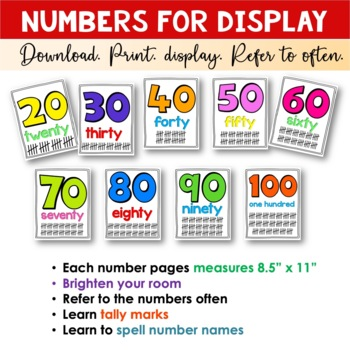 Number Cards for Classroom Display - Primary Learners