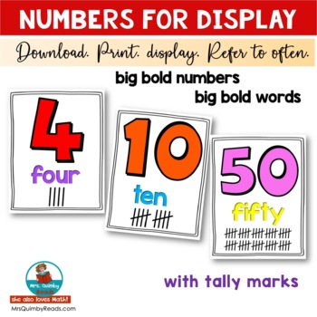 Number Cards for Classroom Display | [Math] Anchor Charts