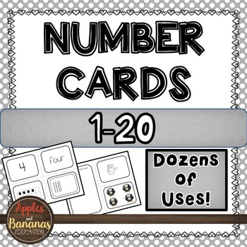 Number Cards for Kindergarten 1-20 (Standard/Word/Tally/Ten-Frame/Picture/Hand)