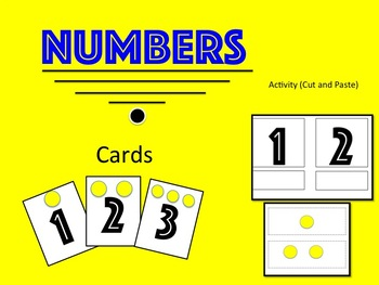 Number Cards from 0 -10 and one activity for stations or centers.