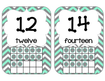 Number Cards in Aqua, Gray and White Chevron