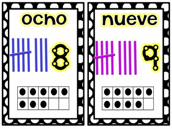 Number Cards in Spanish and English 1-20