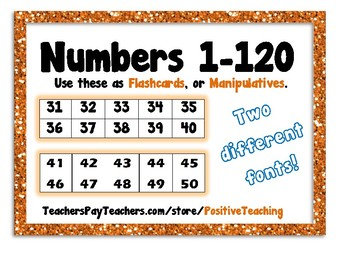 Number Cards 1 - 120  Number Tiles 1 - 100  Flashcards, Manipulatives, Numbers
