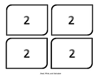 Number Cards to divide class into groups