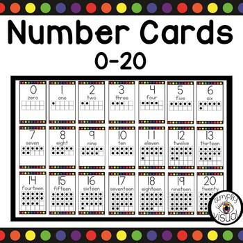 Number Cards 0-20 with Rainbow Dots