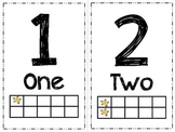 Number Cards with Number Words and Ten Frame - Stars Theme