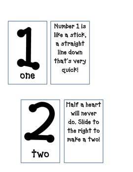 Number Cards with Poems