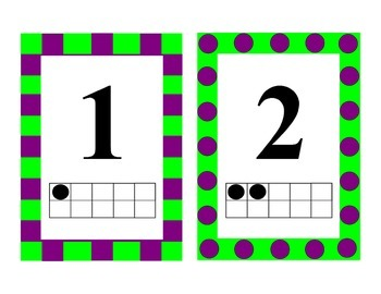 Number Cards with Ten Frames 0-20