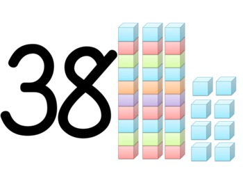 Number Cards with Base Ten's Cubes for Visual Supports 1-50