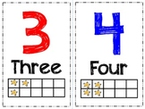 Number Cards with Words, Ten Frame, and Color Coded Odd/Even Stars Theme (1-20)