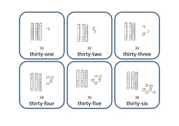 Number Cards with base 10 blocks (MABs), numerals and words 1-150