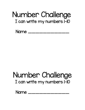 Number Challenge mini book 1-10