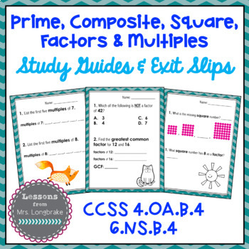 Prime, Composite, Square, LCM, GCF & More Study Guide, Exit Tickets & Test