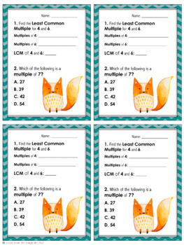 Prime, Composite, Square, Factors and Multiples Exit Slips & Study Guides