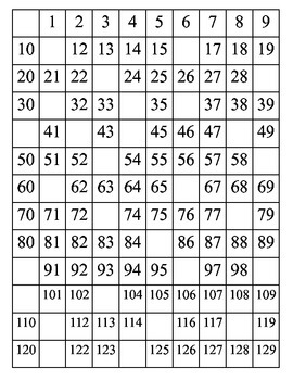Number Chart 0-129