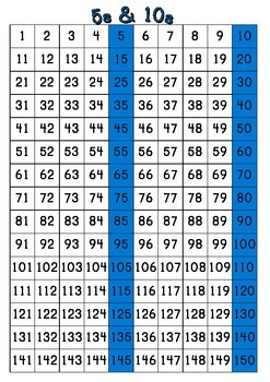 Number Charts 1-150 : Skip Counting by 2,3,4,5,6,7,8,9,10,11,12
